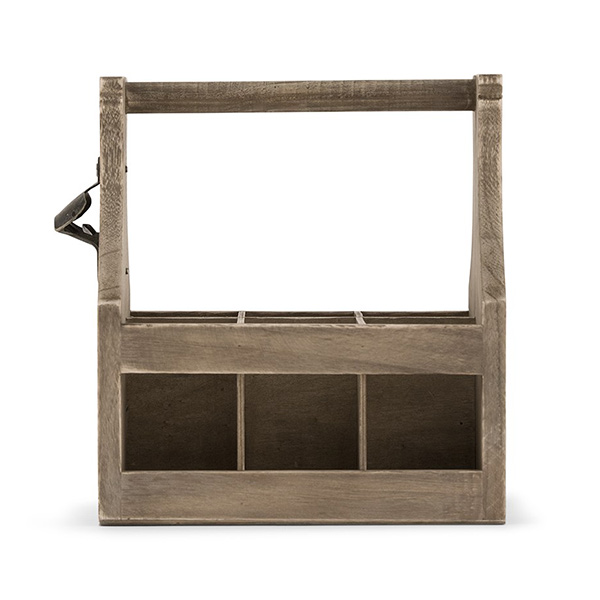Wooden Beer Bottle Caddy - Side View